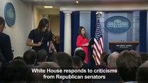 White House responds to criticisms from Republican senators