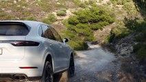 Porsche Cayenne Turbo Carrara White Metallic Driving off road