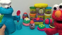 Elmo and Cookie Monster Play-Doh party time! Winnie the Pooh Ariel Mickey Mouse Barbie