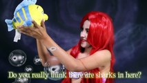 Disney's Ariel Makeup Tutorial The Little Mermaid costume flounder kids toys princess in real life-GRtnP3f1CWs