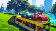 Colors Disney Cars McQueen on Bus with Spiderman Dinoco Cars Cartoon for Kids Nursery Rhymes Songs