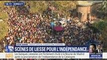 Scènes de liesse à Barcelone pour fêter la proclamation de l'indépendance de la Catalogne