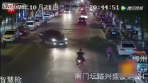Drunk driver crashes straight into a motorcyclist and 10 other cars