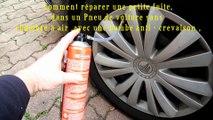 Comment réparer une petite fuite,dans un Pneu de voiture sans chambre à air ,avec une bombe anti - crevaison,