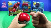 Pokemon Pikachu and Pokemon Trainer Ash Use the Kalos Pokedex and Watch Groudon Battle Kyogre Toys