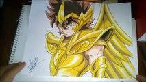 Como dibujar a Seiya Sagitario con colores de madera. How to draw Seiya with prismacolor