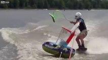 Pêche aux poissons volants en ski nautique.. ce sport est fou !