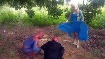 Frozen Elsa vs Spiderman meet Tarzan in the forest - Real life superhero
