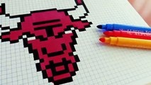 Handmade Pixel Art How To Draw Chicago Bulls Logo Pixelart