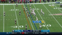 Los Angeles Chargers quarterback Philip Rivers stops clock at one second after Austin Ekeler reception