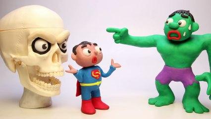 HULK vs GIANT SKULL Halloween Special Play Doh Superhero Stop Motion Videos 2017