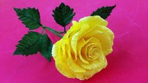 How To Make Beautiful Rose Flower Using Crepe Paper Easily Tutorial