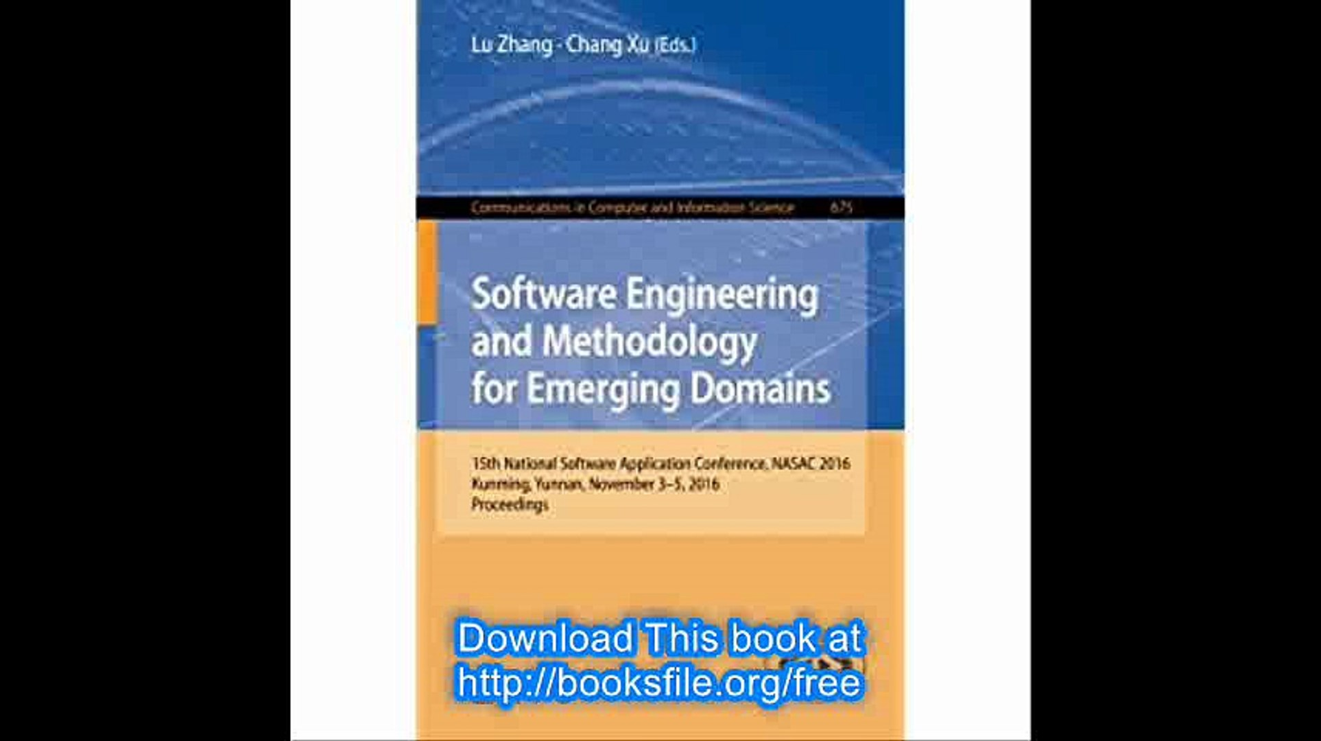 Software Engineering and Methodology for Emerging Domains 15th National Software Application Confere