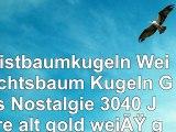 Christbaumkugeln Weihnachtsbaum Kugeln Glas Nostalgie 3040 Jahre alt gold weiß gepunktet