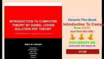Introduction To Computer Theory By Daniel Cohen Solution Pdf Theory