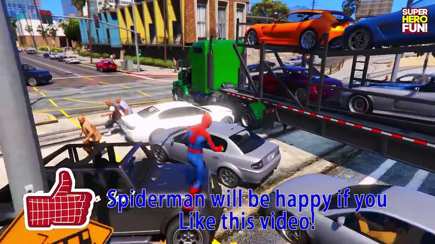 Truck in Trouble! Car CRASHES Compilations Trucks vs Train in Spiderman Cartoon