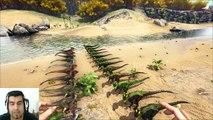 ARK Survival Evolved Dilo Alpha VS Raptor batalla dinosaurios arena gameplay español