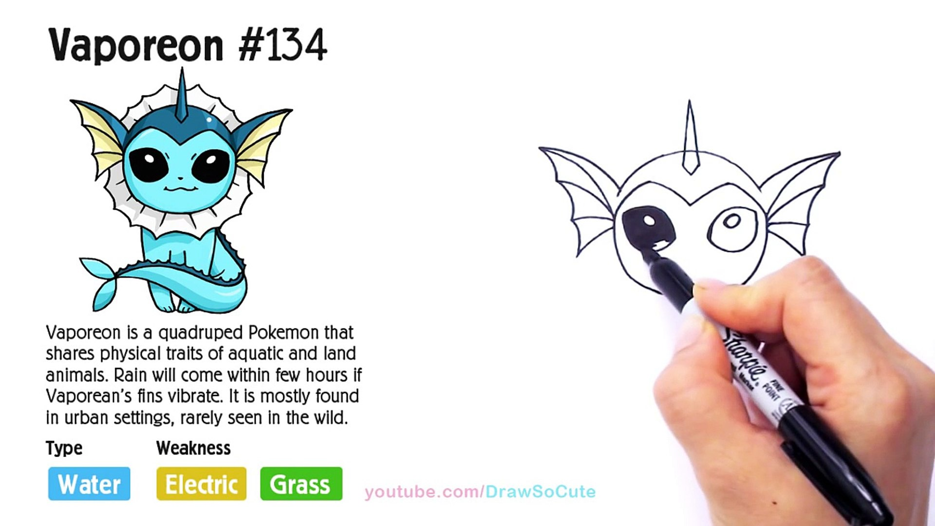 How To Draw Pokemon Vaporeon Step By Step Easy Eevee Evolution Video Dailymotion