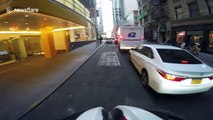 Helmet camera bike video of New York terror aftermath