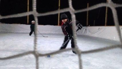 Backyard Ice Hockey Fail