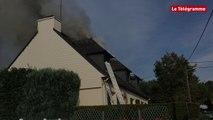 Arradon (56).  Incendie dans une maison rue Saint-Martin