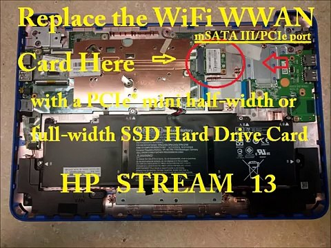 How To UPGRADE HP STREAM Hard Drive 11 13 14 11-d 11-p 11-r 13-C 14-Z X360  Pro G3 G2 Touch SSD RAM