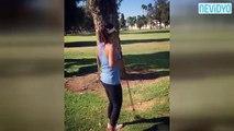 Kadın golfçüden şaşırtan vuruş!