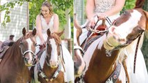 Bride's Family Horse Grins Big Before Helping Her Down The Aisle