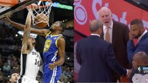 Kevin Durant POSTERIZED by Danny Green, Coach Pop EJECTED! - Spurs vs Warriors