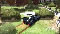 Disney Pixar Cars Lightning McQueen, Dinoco & Batmobile Hit many Spiderman and Batman