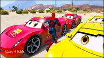 COLOR LIGHTNING MCQUEEN Transportation & Spiderman Cars Cartoon w Colors for Kids Nursery Rhymes