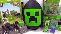 Giant Minecraft Creeper Play Doh Surprise Egg with Minecraft Hangers and Mini Figures