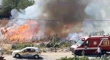 Incêndio de grandes proporções mobiliza corpo de bombeiros em Sousa