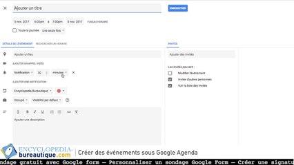 Google agenda - créer des événements