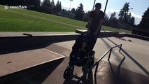 Awesome skateboarding dad does tricks while pushing son's stroller