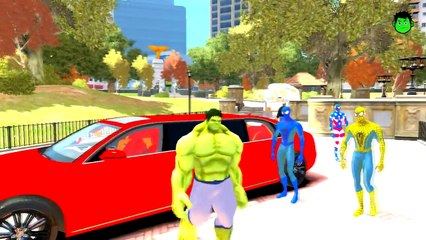 COLORS LIMOSINE SUPER CARS AND COLORS SPIDERMAN NURSERY RHYMES HULK CHILDREN FOR SONGS