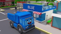 COLOR Bulldozer on BUS and 3D Animation Cartoon with Cars Cartoons for kids and babies!