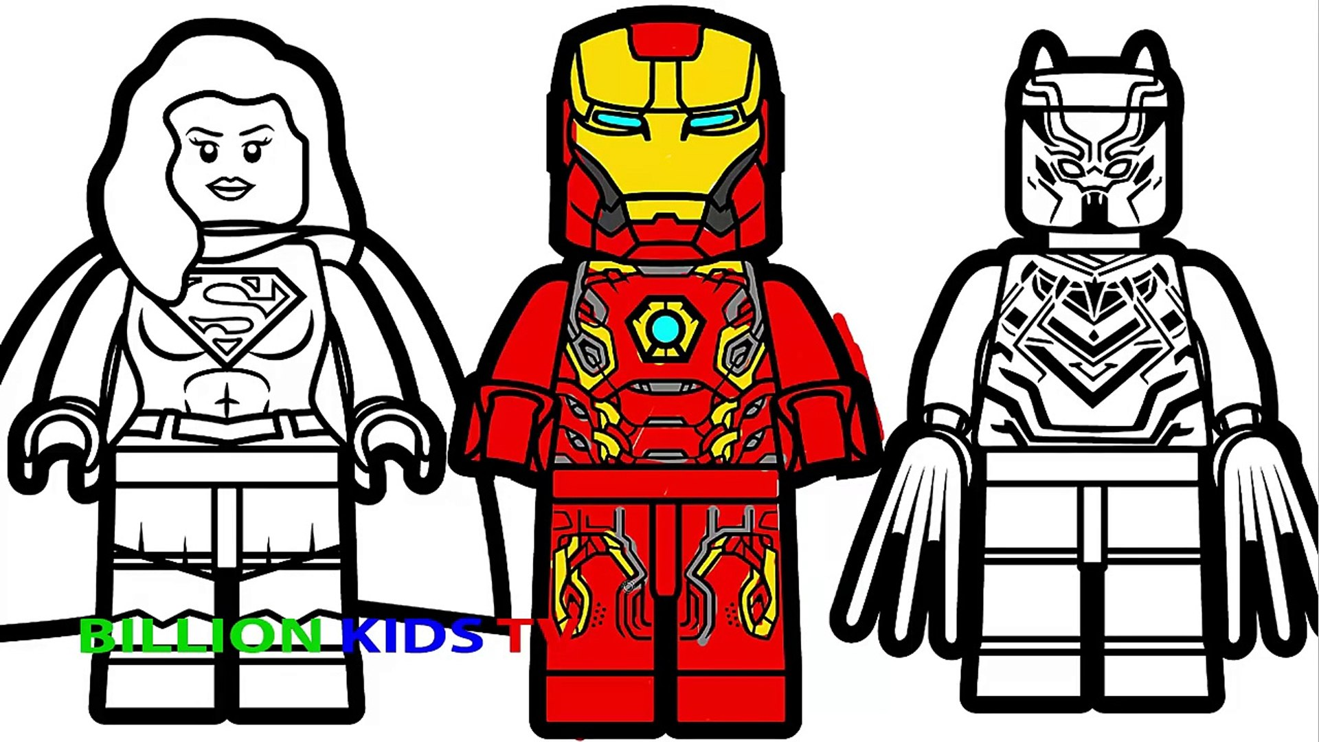 Lego Iron Man vs Lego Supergirl vs Lego Black Panther Coloring Book  Coloring Pages Kids Fun Art
