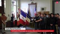 Cérémonie d'hommage aux anciens élèves du lycée Barral, morts pour la France