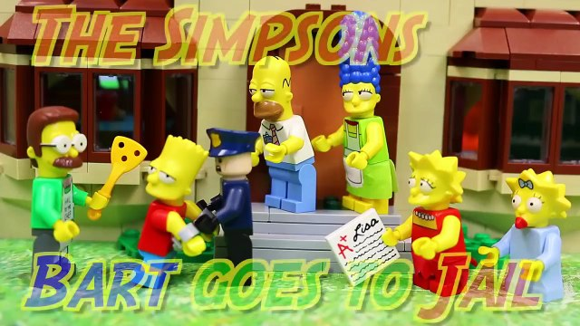 Lego Simpsons Bart Goes to Jail! The Simpsons House Legos Lisa Pranks Bart with Homer Marge Flanders