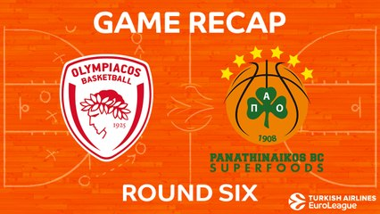 EuroLeague 2017-18 Highlights Regular Season Round 6 video: Olympiacos 62-70 Panathinaikos
