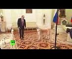 Putin jokes as his Japanese pet barks at Japanese journalists Yume is no-nonsense dog!