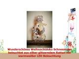 Deko Figur Weihnachten Weihnachts Dekoration Schneemann glitzer silber Rattan  mit