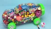 Gum Balls Candy Car Surprise Eggs Learn Colors Play Doh Balls Ice Cream Peppa Pig Creative for Kids