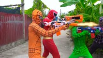 Power Rangers War Spiderman & Superheroes Nerf Guns Fake Spiderman VS Spiderman