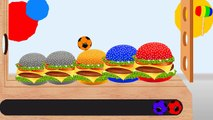 Learn Colors with Colorful Hamburger Soccer Balls WOODEN HAMMER Cartoon for Kids