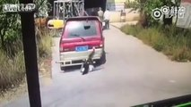 Elle se fait rouler dessus par une voiture qui lui recule dessus mais s'en sort miraculeusement sans blessure