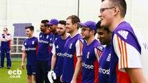 Eoin Morgan plays visually impaired cricket