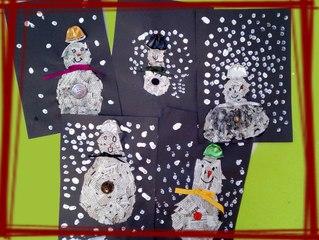 activité pour enfant : fabriquer un bonhomme de neige avec de la récup