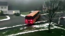 School bus slides on ice